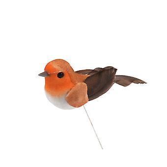 Mini 2.5cm Feather Robin Wired Bird Christmas Tree Decoration