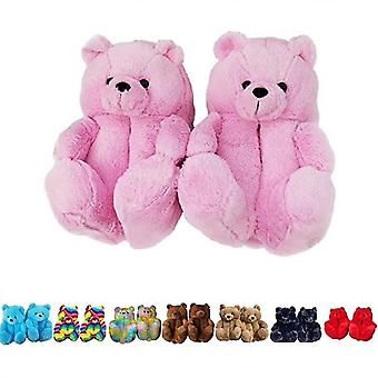 Women Plush Teddy Bear Slippers Home Indoor Soft Anti-slip Faux Fur Cute Slippers(6-9)(Pink)