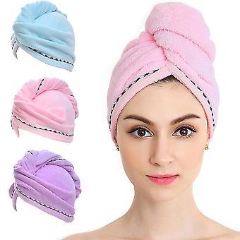 Haardoek wrap microvezel sneldrogende haardoeken baddroger caps (paars)