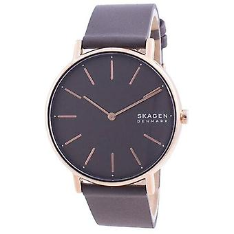 Skagen Signatur Grey Dial Charcoal Leather Strap Quartz Skw2794 Women's Watch