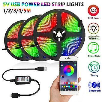 1M/2m/3m/4m/5m 5v bluetooth app led strip light usb power non-waterproof 5050 rgb music sync tv backlight christmas decorations lights