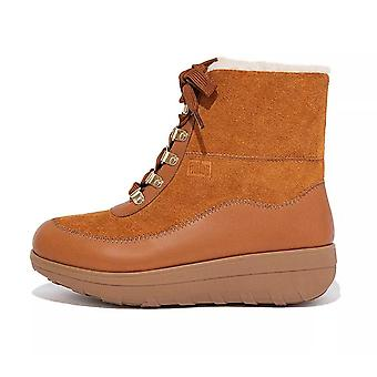 FitFlop Mukluk Iii Shearling-lined Laced Ankle Boots In Light Tan