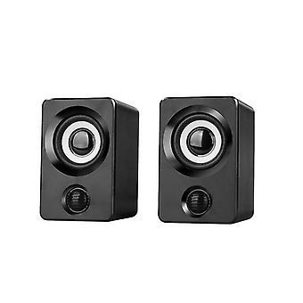 Mini Computer Speakers USB Powered 1.3m Wired 1 Pair Bass Loudspeaker|Computer Speakers(Black)