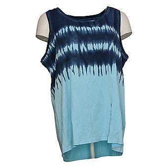 Modern Soul Women's Plus Printed Sleeveless Scoop Nk Tank Top Blue 689511
