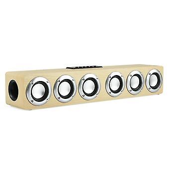Wooden Sound Bar Audio Center Bluetooth Speaker Box Home |Soundbar(Yellow Wood Grain)