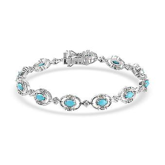 TJC Türkis, Weiß Zirkon Tennis Armband Silber Geschenk für Frau / Mutter (8 Zoll)