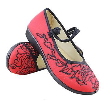 Oude Beijing doek schoenen rubberen zool plat