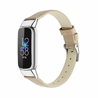 for Fitbit Luxe / Special Edition Band Strap Genuine Leather Replacement Wrist[Beige]