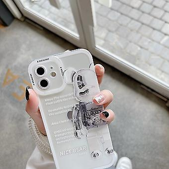 Suitable For Iphone13mini Mobile Phone Case Transparent Soft Shell Violent Panda Angel Eyes Silver