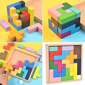Gyerekek játékok, fából készült Tetris puzzle kisgyermekek Tangram, színes blokkok játék, oktatási játékok