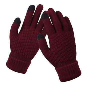Winter Touch Screen Gloves Thicken Warm Knitted Stretch Gloves Imitation Wool Full Finger Outdoor Skiing Gloves