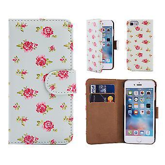 32. Floral Design-Buch für das Apple iPhone 7 / 8 - Vintage Rose Mint iPhone