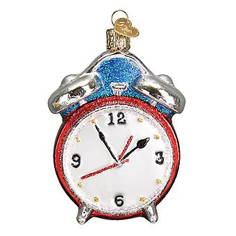 Old World Christmas Alarm Clock Retro Look Holiday Ornament Glass 3.75 Inches