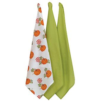 Bountiful Harvest Pumpkin Patch 3 Piece Flour Sack Kitchen Towel Set