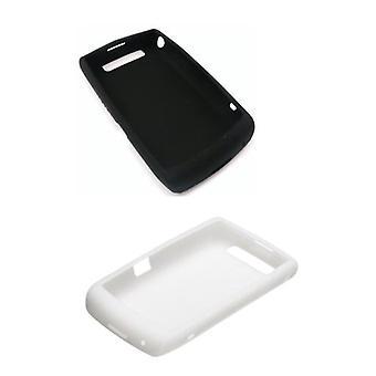 2 חבילת-OEM BlackBerry 9520 9550 Storm2 מקרה עור סיליקון-לבן & שחור