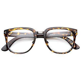 Metallo a ponte T-rivettati cornuto cerchiati classico stile occhiali da vista