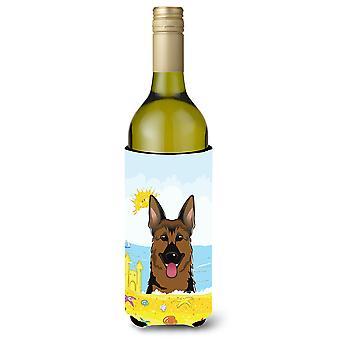 Deutscher Schäferhund Sommer Strand Weinflasche Getränk Isolator Hugger
