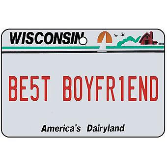 Wisconsin - Best Boyfriend License Plate Car Air Freshener