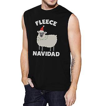 Paño grueso y suave para hombre Navidad músculo negro t-shirt