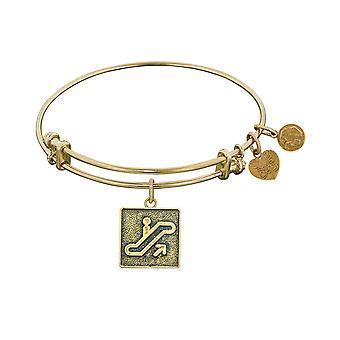 "Stipple Finish Brass Escalator Of Life Angelica Bangle Bracelet, 7.25"""