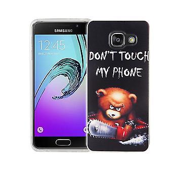 Mobila case för Samsung Galaxy A3 2016 cover case skyddande väska motiv slim TPU + rustning skydd glas 9 H bokstäver björnen med motorsåg