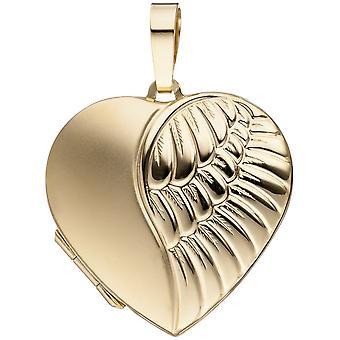 final de 333 corazón oro amarillo oro colgante medallón corazón mate para abrir 2 fotos