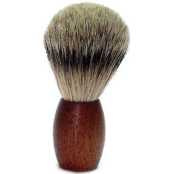 Gold Badger shaving brush with Badger plucking hair, cedar wood handle