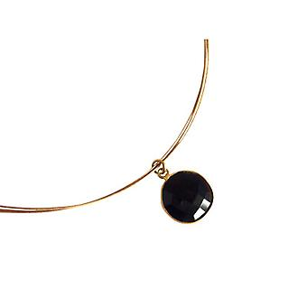 Onyx chain gemstone necklace Black Onyx necklace gold plated