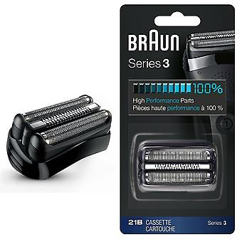 Braun 21B Series 3 Electric Shaver Replacement Cassette Cartridge Foil - Black