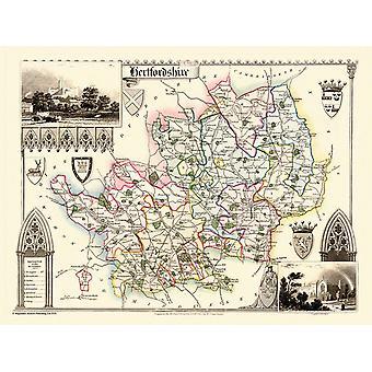 Karta över Hertfordshire 1836 av Thomas Moule 1000 bit pussel (jg)