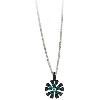 Ti2 Titanium Black Back Ten Petal Flower Pendant - Kingfisher Blue
