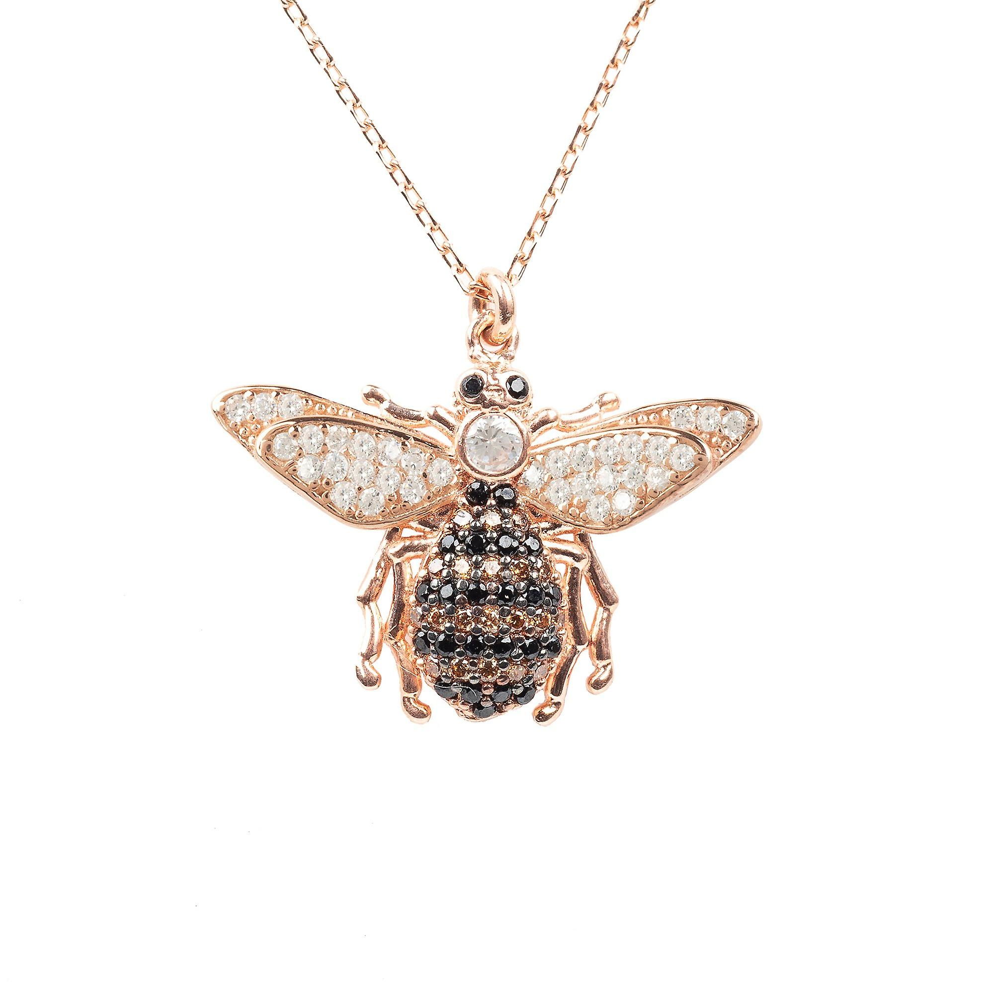 Latelita Pendant Necklace Honey Bumble Bee Queen Rose Gold Pink CZ 925 Silver