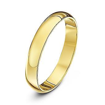 Star Wedding Rings 9ct Yellow Gold Heavy D Shape 3mm Wedding Ring