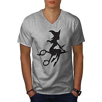 Hairstylist Scissors Men GreyV-Neck T-shirt | Wellcoda