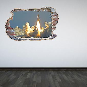 Full Colour Space Shuttle Launch Smashed Wall 3D Effect Wall Sticker