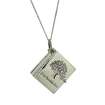 TOC Sterling Silver 6 Photograph Family Tree Locket Necklace 18