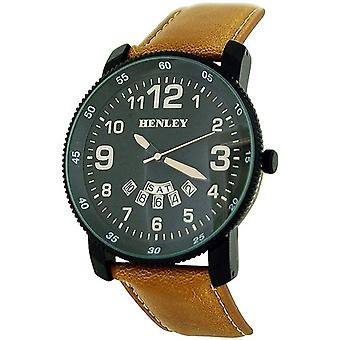 Henley Gents-Mens Analogue Black Dial Day-Date Tan PU Strap Watch H02101.4