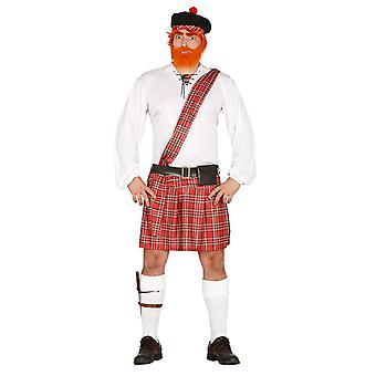 Mens Schotse Tartan Man Fancy Dress kostuum