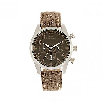 Elevon Curtiss Chronograph Nylon-Overlaid Leather-Band Watch - Silver/Brown