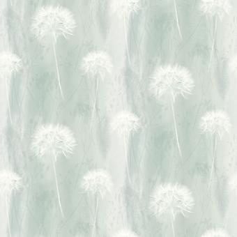 Flower Floral Dandelion Heavyweight Wallpaper Teal White Abstract By Arthouse