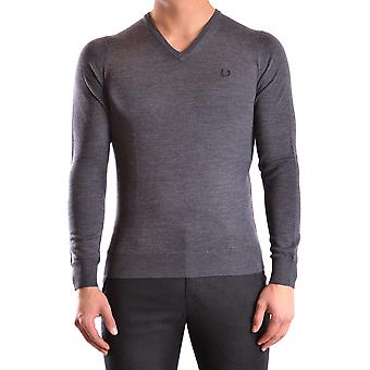 Fred Perry Ezbc094001 Men's Grey Wool Sweater