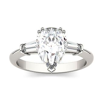 14K White Gold Moissanite by Charles & Colvard 10x7mm Pear Engagement Ring, 2.47cttw DEW