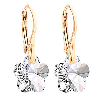 Ah! Jewellery 24K Gold Vermeil Over Sterling Silver Aurore Boreale Crystals From Swarovski Flower Earrings