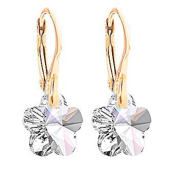 Ah! Sieraden 24K Gold vermeil over Sterling Silver Aurore boreale kristallen van Swarovski bloem oorbellen