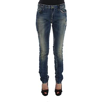 Blue cotton blend straight fit jeans