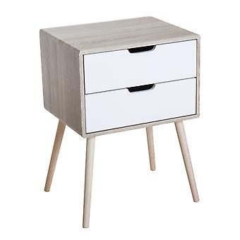 HOMCOM Freestanding Retro Bedside Table 2 Drawer Cabinet Storage Organiser Unit Bedroom Furniture Wooden Leg