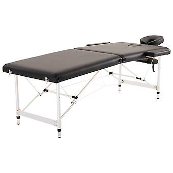 HOMCOM 2 Section Portable Foldable Lightweight Aluminium Massage Table Couch Beauty Bed with FREE Carry Bag Black