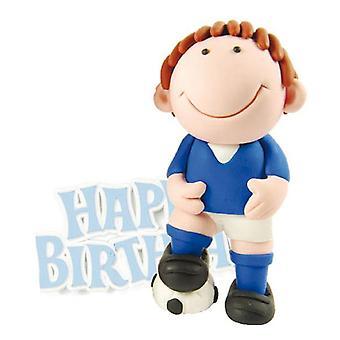 Decorazione della torta del calciatore blu con buon compleanno motto