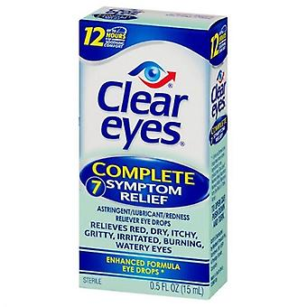 Clear Eyes Complete 7 Symptom Relief Enhanced Formula Eye Drops 2 Pack