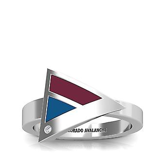 Colorado Avalanche Engraved Sterling Silver Diamond Geometric Ring In Red and Blue